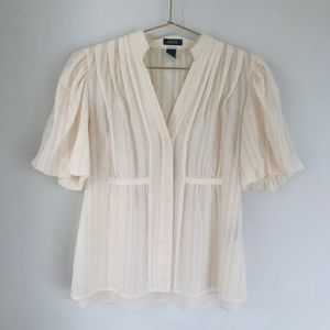 Kenneth Cole 4 S cream baby doll pintuck blouse